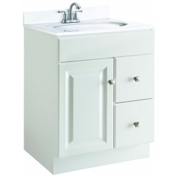 Design House White Vanity Wyndham, One Fake Drawer Face And 2 Drawers And 1 Door