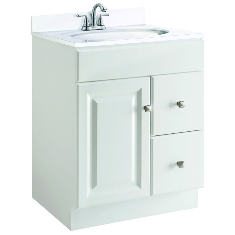 Design house white vanity wyndham one fake drawer face - 30 inch white bathroom vanity with drawers ...