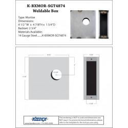 Keedex K-BXMOR-SGT4874 Mortise Dead Bolt Lock Box - Sargent 4874 14 Gauge Steel
