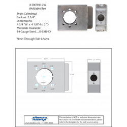 "Keedex K-BXRHO-2W 2"" Wide Lock Box for Levers 2 3/4"" BackSet 14 Gauge Steel"