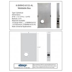 "Keedex K-BXRHO-8155 Oversized 8""x15 1/2"" Lock Box - Lever Prep Center to top of Box 11 1/5"""