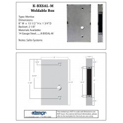 Keedex K-BXSAL-M Weldable Box-Salto Systems Systems Mortise 14 Gauge Steel