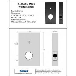 """Keedex K-BXSGL-DIG1 Weldable Box for 2 3/8"""" Backset, 2 1/8"""" Hole w/Room for Keypads"""