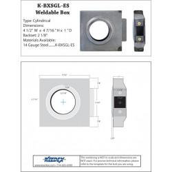 "Keedex K-BXSGL Box Sgl., 2 3/8"" Backset, 2 1/8"" Hole (1"" wide) 14 Gauge Steel"