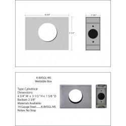 "Keedex K-BXSGL-NS Single 2 3/8"" B/S, Box - No Stop ( 1 5/8"" Wide) w/Weep Hole, 14 Gauge Steel"