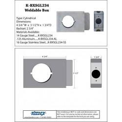 "Keedex K-BXSGL234 Lock Box Single, 2 3/4"" Backset, 2 1/8"" Hole"