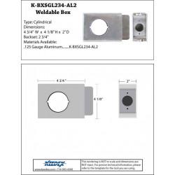 "Keedex K-BXSGL234-AL-2 Aluminum Lock Box Single, 2 3/4"" Backset, 2 1/8"" Hole, 2"" Wide"