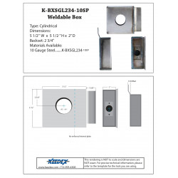 """Keedex K-BXSGL234-10SP Heavy Duty Reinforced Box Single, 2 3/4"""" Backset, 2 1/8"""" Hole"""