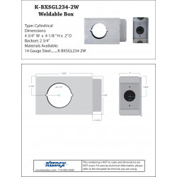 "Keedex K-BXSGL234-2W Lock Box Single, 2 3/4"" Backset, 2 1/8"" Hole, 2"" Wide"
