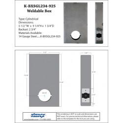 """Keedex K-BXSGL234-925 Oversize Single Box (9x5x1). 2 3/4"""" B/S 2 1/8 Hole. 1 3/4"""" Wide. No Stop"""