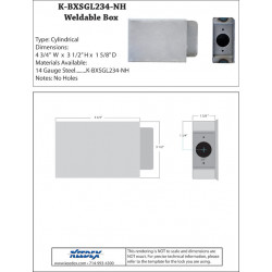 Keedex K-BXSGL234-NH Lock Box Single, No Holes, Latch Hole Only
