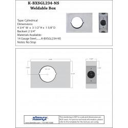 "Keedex K-BXSGL234-NS Single, 2 3/4"" Backset 2 1/8"" Hole - No Stop w/Weep Hole"
