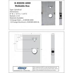 Keedex K-BXSIM-4000 Weldable Box - Kaba Ilco 4000 Series. (Drill holes for 710, 850 & 950)