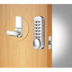 Codelocks CL100 Series Mechanical Locks- Tubular Latchbolt, Quick Code Function, Finish-Silver Grey