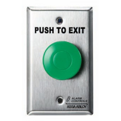 """Alarm Controls TS One N/O and One N/C Contact, 1-1/2"""", """"PUSH TO EXIT"""", Mounted on 1-3/4"""" Narrow Stainless Steel Wall Plate"""
