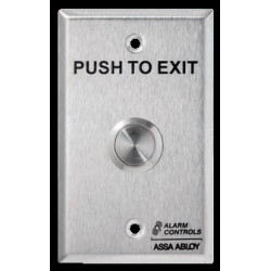 """Alarm Controls TS 3/4"""" Round, Metal Push Button, DPDT 2A Momentary Contacts, """"PUSH TO EXIT"""",Stainless Steel Wall Plate, UL Listed"""