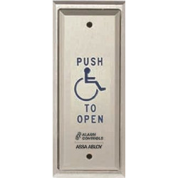"Alarm Control PN Push Plates - Vandal Resistant, Narrow Stile, ""PUSH TO EXIT"", Black Fill, Satin Aluminum"