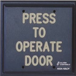 "Alarm Control PD Push Plates - Vandal Resistant, Double Gang, ""PUSH TO EXIT"", Black Fill, Satin Aluminum"