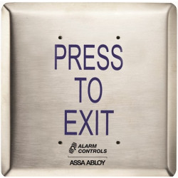 """Alarm Control JP1 Push Plates - Jumbo, Labeled """"Press to Exit"""", Rated .5A at 125VDC, 302 Satin Stainless Steel Wall Plate"""