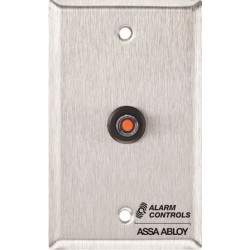 """Alarm Control RP-44SLIM 1-1/2"""" Narrow Slim-line, Stainless Steel Wall Plate, DPDT, One Button Indicating Shunt Switch"""
