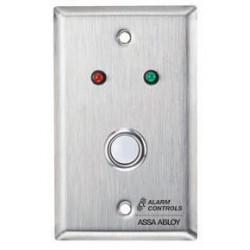 Alarm Control RP-05 Single Gang, Stainless Steel Wall Plate, Red and Green LEDs, N/O Push Button