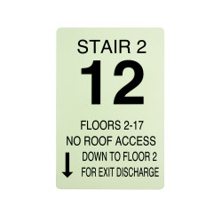 "Safe T-Nose ISID Egress Signs Stair Floor ID - 12"" x 18"""