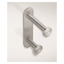 Magnuson Group SCH-33905 S Series Double Coat Hook W/ Back Plate, Finish-Brushed Stainless Steel