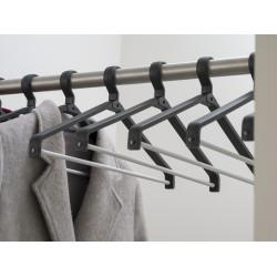 Magnuson UNI-20 Universum Plastic Coat Hanger, Finish-Black W/ Silver Aluminum Trouser Bar
