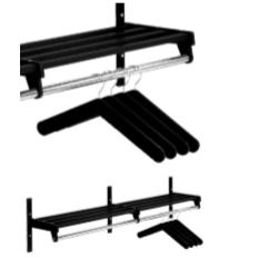Magnuson WH01A Villa Single Shelf Hanger Style Wall Rack Mounted W/ 6 Brackets