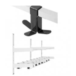 Magnuson Group WK02A-7-K73 Double Shelf Villa Hook Style Wall Rack W/ 16x Triple Prong Hooks And 3 Brackets