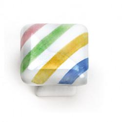 """Laurey 08350 1-1/4"""" Square Painted Porcelain Cabinet Knob"""