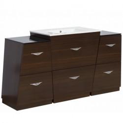 American Imaginations AI-126 Vee Series Plywood-Melamine Vanity Set In Wenge