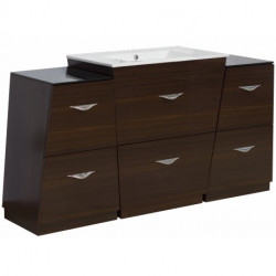 American Imaginations AI-127 Plywood-Melamine Vanity Set In Wenge