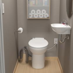 Saniflo 023 Sanicompact One-Piece Floor Mounted Dual-Flush Toilet W/ Macerator