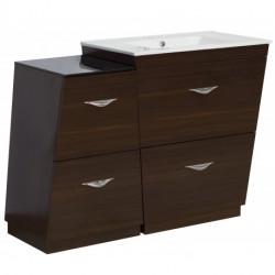 American Imaginations AI-127 V-Shape Plywood-Melamine Vanity Set In Wenge