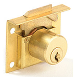 CCL 124 666 1/2 Diameter Drawer Lock, Pin Tumbler, 7/8, Keyed Different, Finish- Dull Brass