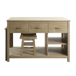 Design Element Garrett 54 In. Kitchen Island With Slide Out Table in Natural Finish