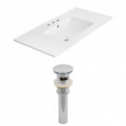 American Imaginations AI-1552 Modern Ceramic Top Set In White Color And Drain