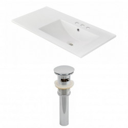 American Imaginations AI-1556 Rectangle Ceramic Top Set In White Color And Drain