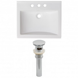 American Imaginations AI-1557 Ceramic Top Set In White Color And Drain