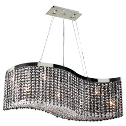 PLC Lighting 66010 CLEAR/PC 8-Light Chandelier Clavius - I Collection, Finish-Polished Chrome