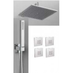 """Rain Therapy NO-430NV 15-3/4""""- 40 CM Square Shower Head / 4 Body Jets Mount"""