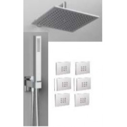 """Rain Therapy NO-440NV 15-3/4""""- 40 CM Square Shower Head / 6 Body Jets Mount"""