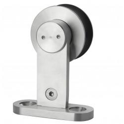 Delaney SD1 Round Track Sliding Door Hardware Kit - Single Wheel - Brushed Steel