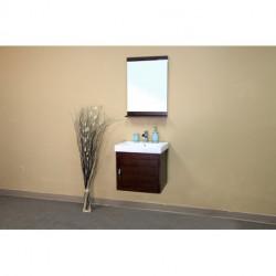 """Bellaterra 203136 In Single Wall Mount Style Sink Vanity-Wood- Walnut - 19.5x23.6"""""""