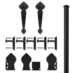 Custom Service Hardware QG.1100.NH.08-NR Spade Non-Hammered Hardware Short Bracket Black (No Rail)