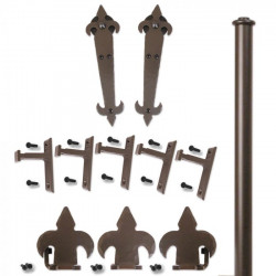 Custom Service Hardware QG.1200.07-NR Fleur-de-Lis Hardware Short Bracket Kit Oil Rubbed Bronze (No Rail)