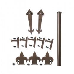 Custom Service Hardware QG.1200.NH.07-NR Fleur-de-Lis Non Hammered Hardware Short Bracket Kit Oil Rubbed Bronze (No Rail)