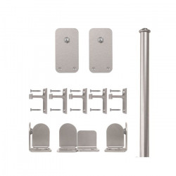 Custom Service Hardware QG.1300.BR.02-NR Basic Rectangle Hardware Short Bracket Kit Satin Nickel(No Rail)