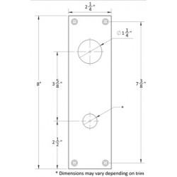 Accurate Lock & Hardware 1E-CD Dummy Escutcheon Plate w/ Cylinder Cutout